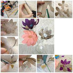 Flores feitas de rolos de papel higiénico.  Veja mais em http://www.comofazer.org