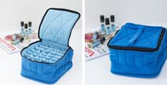 "30-Bottle Carrying Case Royal Blue exterior with Baby Blue Interior - 4"" highBeautiful, softly-padded, cloth carrying case holds 30 (thirty) 15ml or 30ml bottles up to 4"" high.The perfect organizer for scent or lip Roll -On collections.Padded cloth dividers between each bottle to keep them from breakage. Handle on top keeps your oils upright when being transported. Massage therapists as well as everyday users just love these portable aromatherapy accessories!"