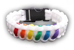 White Striped Rainbows Snap Clasp Paracord Bracelet - Gay Pride Bracelet - LGBT Lesbian Pride Wristban