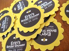 50 Sunflower Petal Style Favor Tags Flower thank by DesignCircus, $18.95 table name cards - white/yellow center