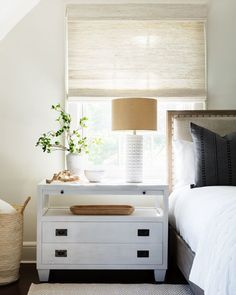 Natural textures and soothing hues create a calming space for relaxation. Get the look at theshadestore.com // Designed by Barrett Oswald Designs // Photo by Tim Lenz Bedroom Windows, Blinds For Windows, Bamboo Grass, Woven Wood Shades, Beautiful Bedrooms, Floating Nightstand, Get The Look, Window Treatments, Relax