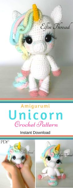 Oh so cute Unicorn Crochet Pattern! Elfin Thread- Lily Rainbow Cheeks the Chibi Unicorn Amigurumi - PDF Pattern - Crochet Unicorn Pattern - unicorn crochet pattern - PATTERN ONLY (English) crochet pattern, amigurumi pattern, instant download! This is my favorite pattern I made! very easy to follow pattern. NNT | Toy Crochet Patterns | #etsy #ad #unicorn #crochet #pattern #amigurumi #stuffy #toy #toys #patterns #pdf #pdfpattern #toy #toys #InstantDownload