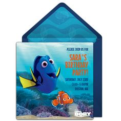 Customizable, free Finding Dory online invitations. Easy to personalize and send for a Finding Dory Birthday Party. #punchbowl