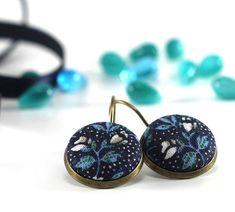 Antique Leverback Earrings  Dark Blue by PatchworkMillJewelry