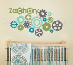 Cogs, Wheels and Gears Wall Decal, Gear Wall Decal for Nursery, Kids, Childrens Room 075