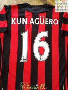c4edd3702 2011 12 Man City Away Premier League Football Shirt Kun Agüero  16 (M)