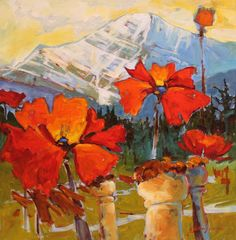 """'Mt Edith Cavell with Poppies' 24"""" x 24"""" acrylic on canvas by Gail Johnson"""