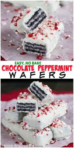 Dipping chocolate wafers in white chocolate and adding peppermint is an easy no bake treat for holiday parties!