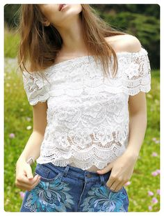 5c04ca0d305 Boat Neck Flouncing Spliced Lace Blouse (White) Pinterest Fashion