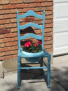 old chair turns flower planter