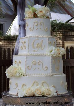 Square and Round Wedding Cake, Ivory Piped Details, Fresh Ivory ...