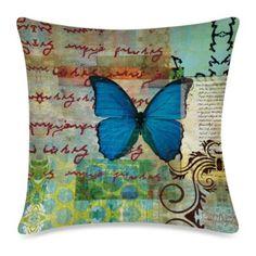 19-Inch Outdoor Toss Pillow in Homespun Butterfly 2 - BedBathandBeyond.com