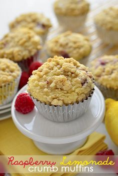 Raspberry Lemonade Crumb Muffins have a fresh-tart taste and decadent crumb topping. | iowagirleats.com