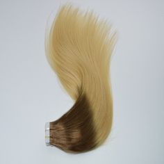 Straight Ombre Tape in Human Hair Extension in Two Tones 4/613 Brown to Blonde #tapeinhairextension