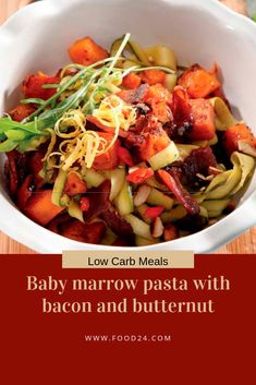 """This low carb dish will have you enjoying guilt-free """"pasta"""" without compromising delicious flavour! Pork Recipes, Low Carb Recipes, Bacon Pasta, Guilt Free, Eating Plans, Healthy Eating, Menu, Dishes, Food"""