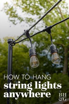 Bistro Lights, Backyard Lighting, Lights In Backyard, Deck Lighting Ideas Diy, Outside Lights On House, Outside Lighting Ideas, Lighting For Gardens, Pergola With Lights, Diy Exterior Lighting