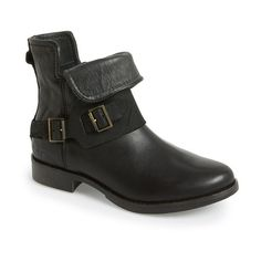 """UGG Australia 'Cybele' Moto Boot, 1 1/4"""" heel (€210) ❤ liked on Polyvore featuring shoes, boots, black leather, side zip boots, biker boots, black engineer boots, leather biker boots and low heel boots"""