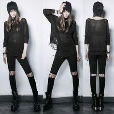 Women Black Ripped Emo Gothic Punk Rock Sweaters Scene Clothing SKU-11411039