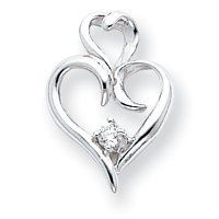 14k White Gold GH/VS Diamond Heart Pendant