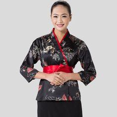 2017 Women Japanese Korea style medium sleeve chef cook uniform chef work wear restaurant cook shirt suit  flower printing #Affiliate