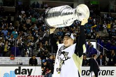 UNE 12: Olli Maatta #3 of the Pittsburgh Penguins celebrates with the Stanley Cup after their 3-1 victory to win the Stanley Cup against the San Jose Sharks in Game Six of the 2016 NHL Stanley Cup Final at SAP Center on June 12, 2016
