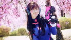 Awesome D.Va Beautiful Wink and Smile Overwatch Cosplay Cherry Blossom 1920x1080 wallpaper