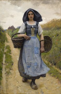 Charles Sprague Pearce A Peasant Girl - Auvers -sur-Oise Beautiful Paintings, Beautiful Images, Oeuvre D'art, American Artists, Love Art, Female Art, Art History, Illustration Art, Gallery