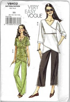 Very Easy Vogue 8402: Pullover Mock Wrap Top with by MiAbDryGoods