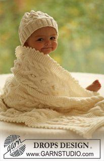 """BabyDROPS 17-28 - Gorro y manta DROPS con patrón de trenzado en """"Merino Extra Fine"""". - Free pattern by DROPS Design"""
