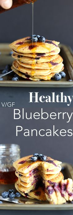 These Healthy Blueberry Pancakes are super easy to make, packed with fresh blueberries! Super soft and light textured, refined sugar free, vegan and gluten free. | TwoRaspberries.com