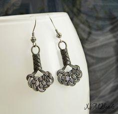 Pure Silver Celtic Knot Dangle Earrings by NMBeadsJewelry