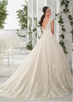 Buy discount Charming Tulle & Satin Scoop Neckline A-Line Wedding Dresses With Lace Appliques at Dressilyme.com