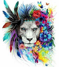 Colourful lion  By: @pixie_cloud