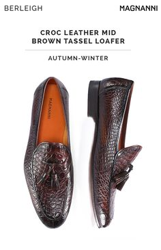 a85c1f9b63c Magnanni croc leather mid brown tassel loafer  Enhance your outfit s appeal  when you are sporting
