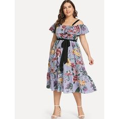 3662360e6d18 Plus Mixed Print Cold Shoulder Fit & Flare Belted Dress. Tropical DressDress  FashionFormal Dress ShopsFormal ...