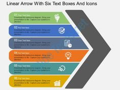 rj linear arrow with six text boxes and icons flat powerpoint design Slide01