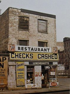 retronewyork:    New York City 1960s Checks Cashed 7Up Street Corner Vintage by Christian Montone on Flickr.