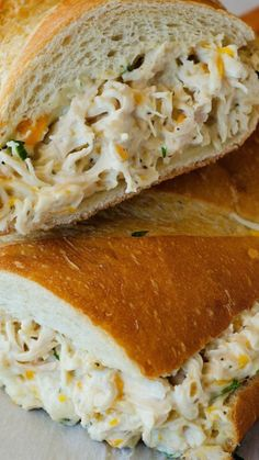 Chicken Stuffed French Bread ~ French bread stuffed with a flavorful chicken mixture... Packed full of flavor with the chicken, ranch dressing, loads of cheese and green onion