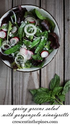 Spring Green Salad with Gorgonzola Vinaigrette Gardening Photography, Spring Green, Vinaigrette, Green Beans, Spinach, Seeds, Salad, Vegetables, Recipes