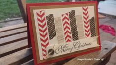 Stampin up tape it christmas card. Using greetings of the season. Real red baked brown sugar and early espresso.