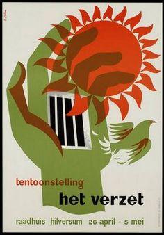 tentoonstelling het verzet raadhuis hilversum 23 april 5 mei. Cor van Velsen, 1946. via Adviz