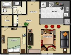 One Bedroom House Floor Plans apartment-relieved-sleeping-and-living-area-in-apartment-plans