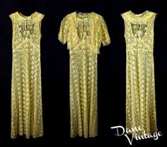 20s 30s vintage yellow sheer LACE Bias Cut by danevintage on Etsy, $145.00