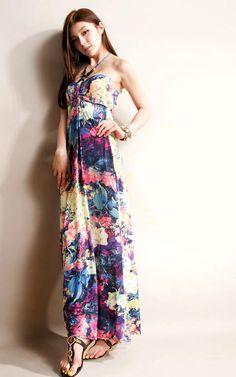Strapless Floral Imprint Dress