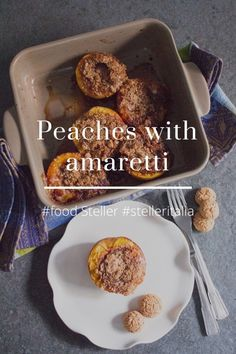 Peaches with amaretti #food Steller #stelleritalia Today day of resumption of the blog in full swing, a dessert that I love and that puts all disagree on the table, peaches with amaretti made stuffed baked goodness. Ingredients: Yellow peaches 4