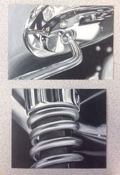 Close up monotone oil paintings motorcycle details (Azraa, unit 4 prep) Candy Drawing, Close Up Art, Reflection Art, Paint Prices, Observational Drawing, Ap Studio Art, Still Life Drawing, Object Drawing, French Horn