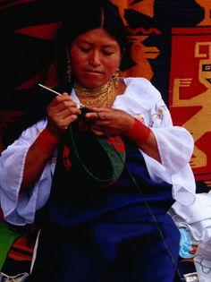 Otavaleno Indian Woman Crocheting a Bag on Plaza de Ponchos in Otavalo, Ecuador