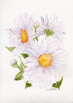 White Shasta Daisies Original Watercolor por SharonFosterArt