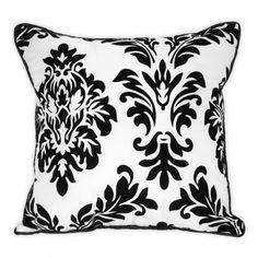 Flocked Damask Dec Pillow - white  wakeupfrankie.com