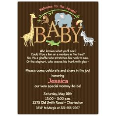 Baby Jungle Shower Invitations   PaperStyle